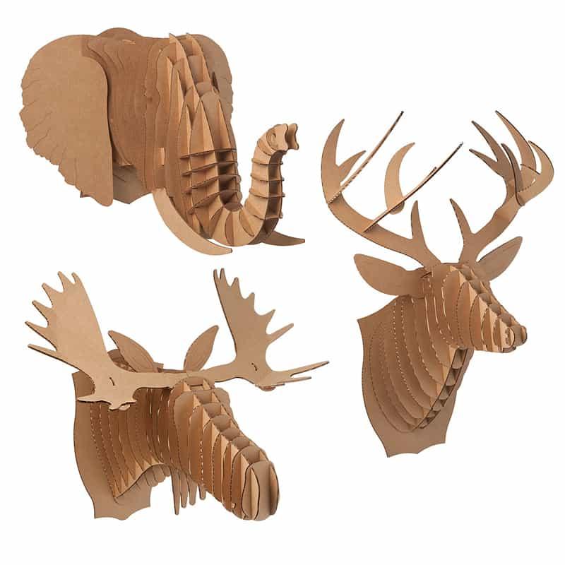 3- cardboard animal heads