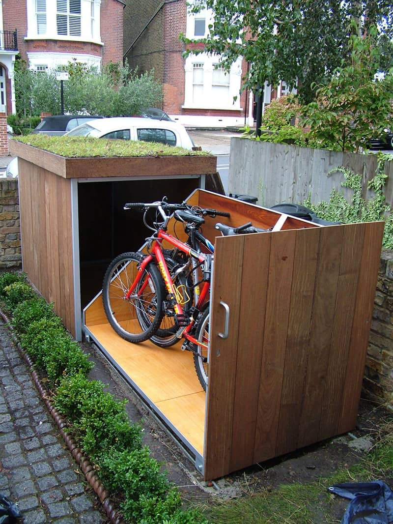 modern outdoor bike garage by treesaurus. Black Bedroom Furniture Sets. Home Design Ideas