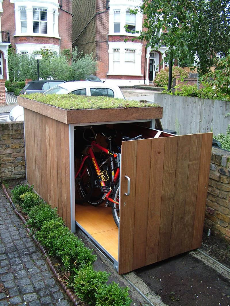 Modern outdoor bike garage by treesaurus Outdoor bicycle