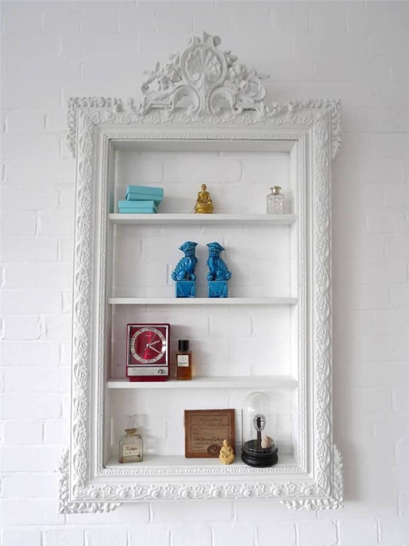 Creative Wall Decoration with Picture Frame Shelves