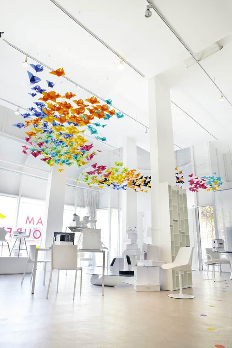amazing art installation origami butterflies  dream interiors  elixr