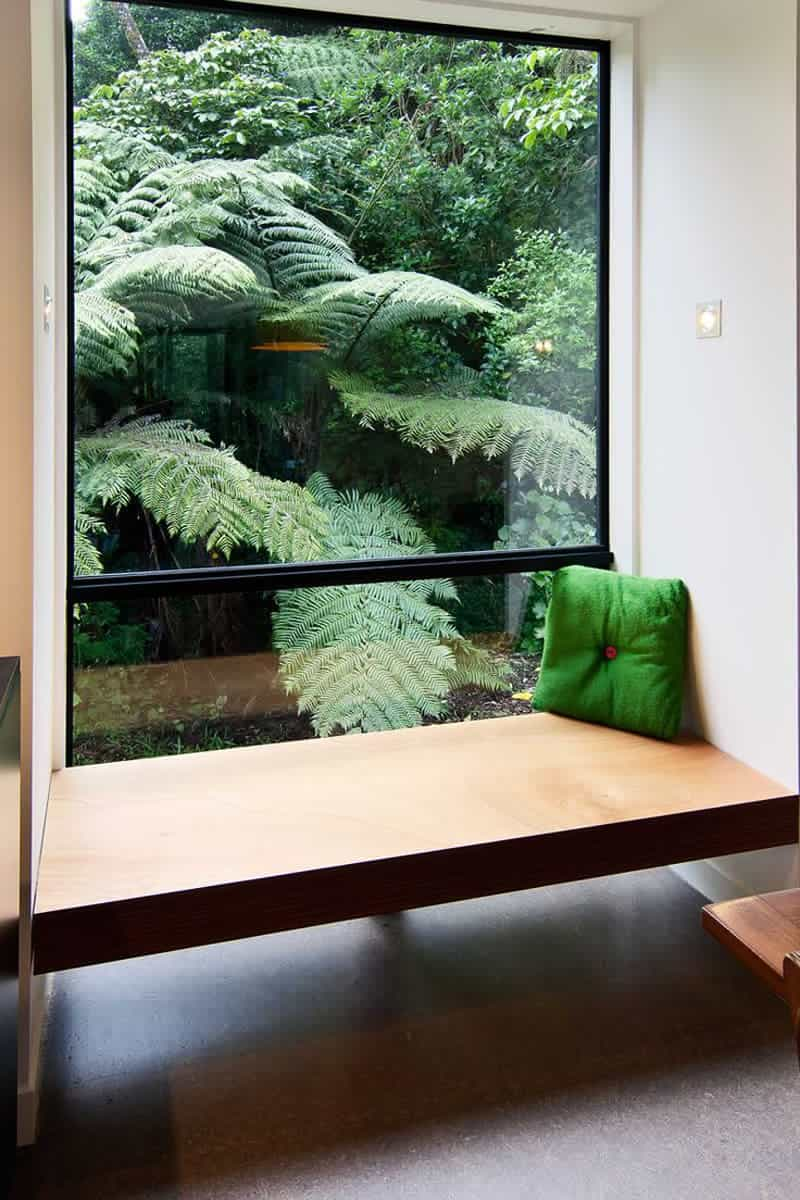 Contemporary wooden window bench seat