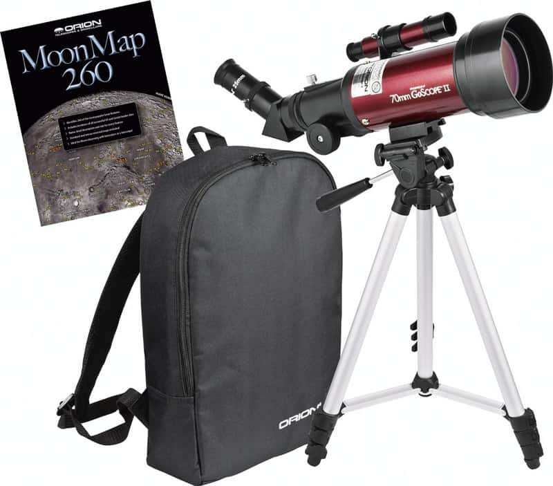 14 Orion 10034 GoScope II 70mm Refractor Travel Telescope Moon Kit (Burgundy)