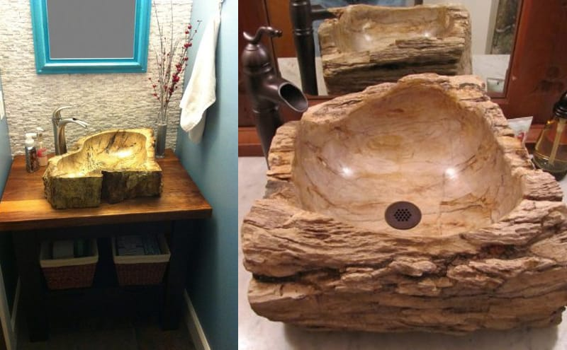 S028PW-P Natural Stone Sink - Petrified Wood