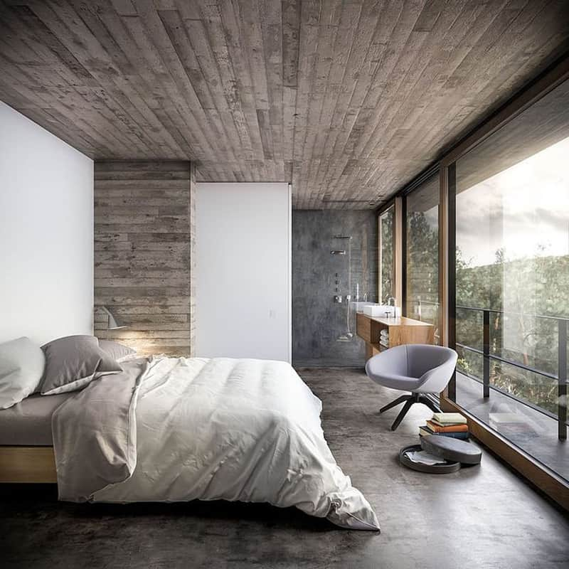 7 Amazing Houses Built Into Nature: 15 Examples Of Amazing Concrete Bedroom Walls