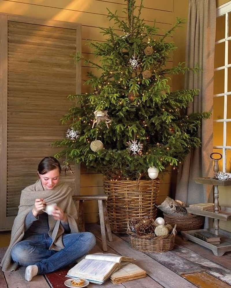 Simple and natural christmas tree decorating ideas for 2015 Natural decorating
