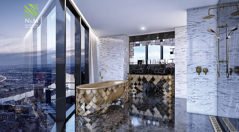 38 Luxurious Bathrooms Decorated With Art Pieces