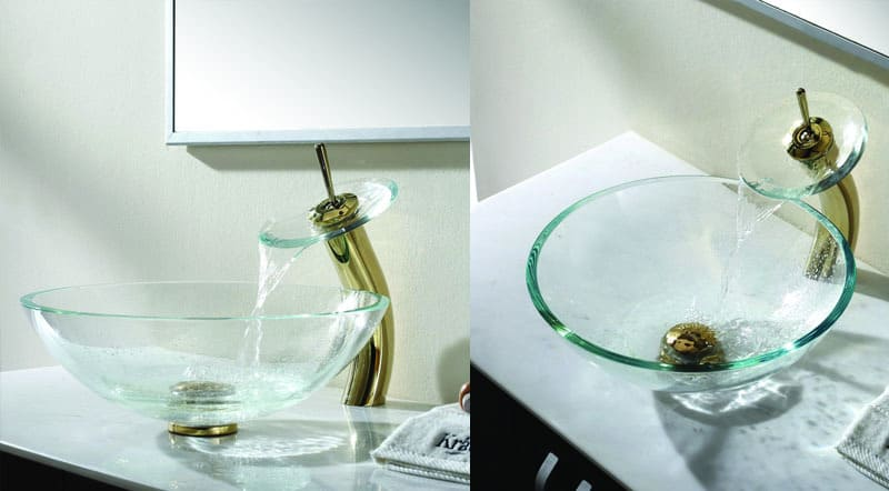 Crystal Clear Glass Vessel Sink And Waterfall Faucet By Kraus