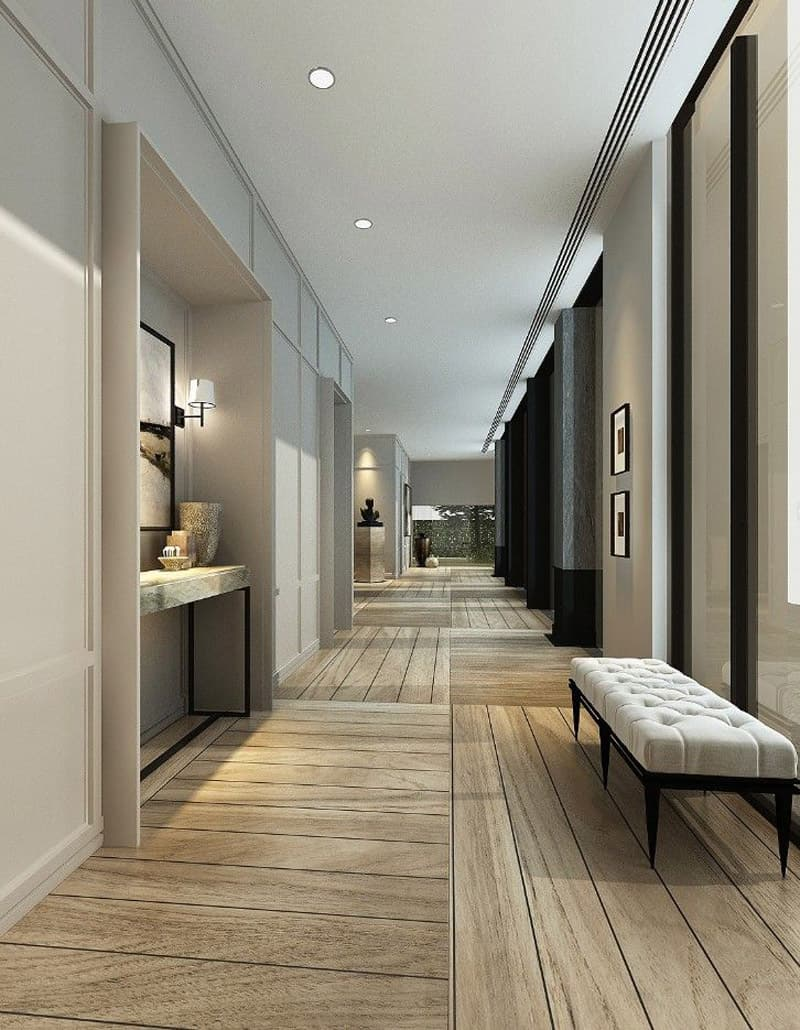 20 long corridor design ideas perfect for hotels and public spaces. Black Bedroom Furniture Sets. Home Design Ideas