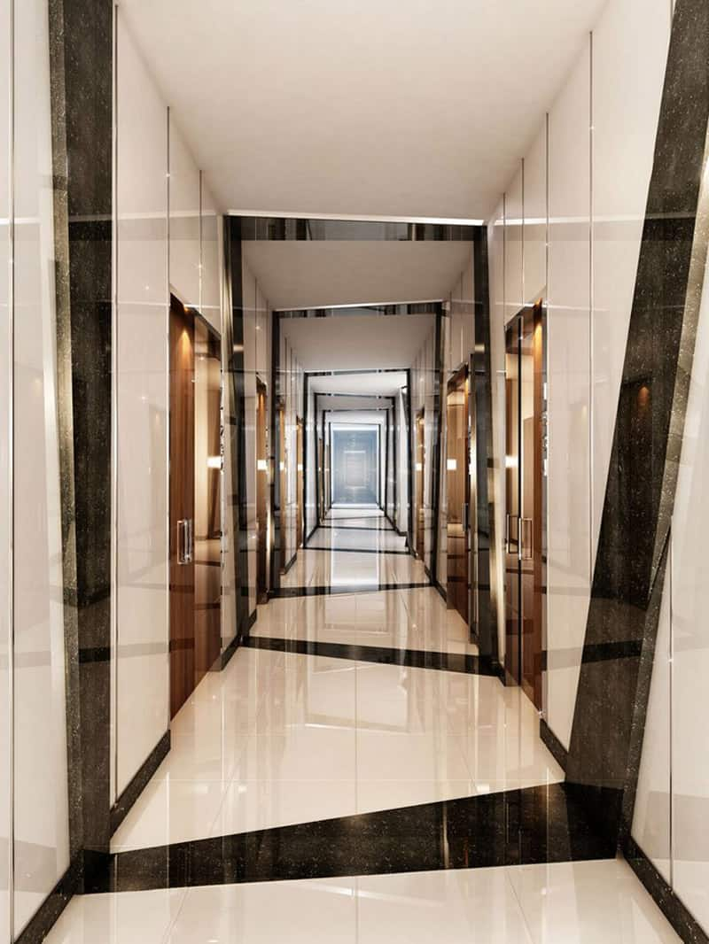 20 long corridor design ideas perfect for hotels and Interior tile floor designs