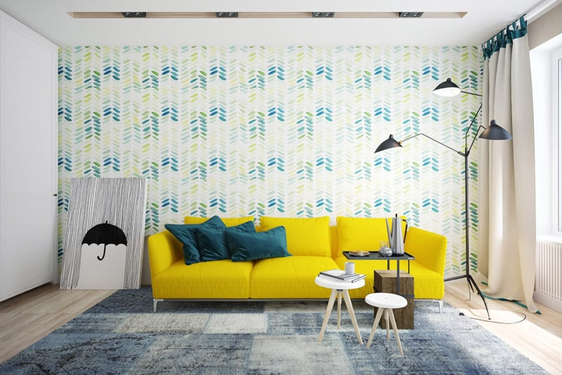 Yellow decorating ideas are fun and uplifting for Black and blue wallpaper for living room