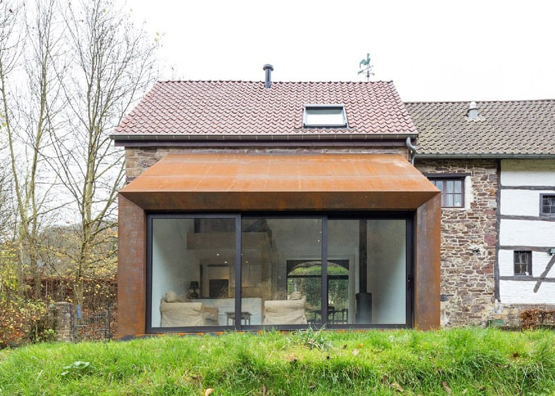 Contemporary Steel Extension For An Old House In Belgium