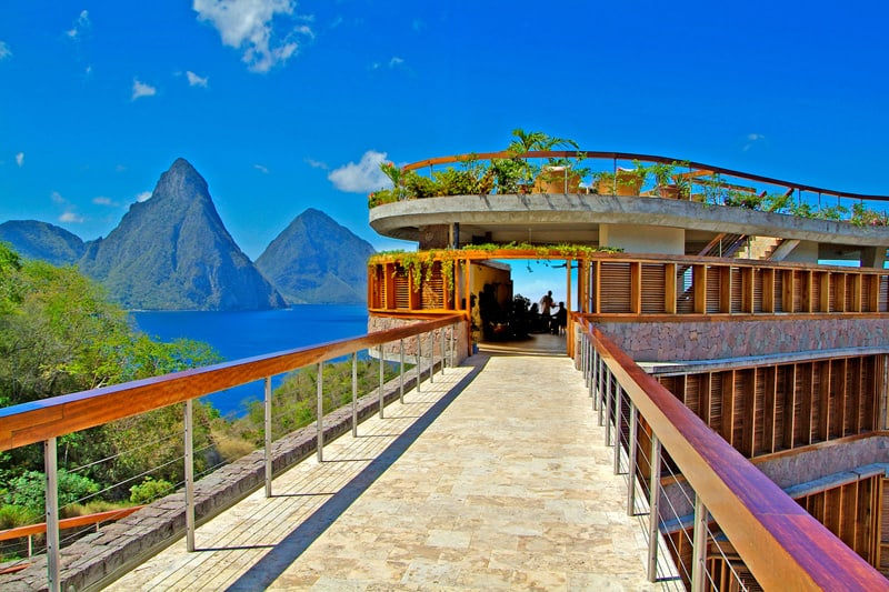 Caribbean St. Lucia Jade Mountain Club entrance, Pitons in view