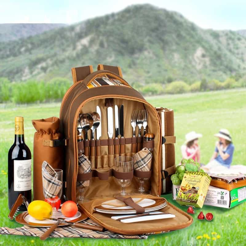 Picnic backpack for 4 picnic basket Coffee Perfect for Picnic