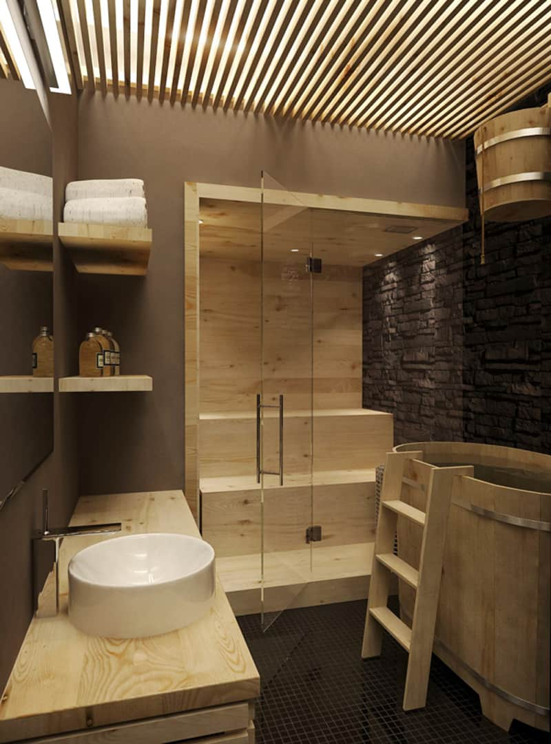 35 spectacular sauna designs for your home. Black Bedroom Furniture Sets. Home Design Ideas
