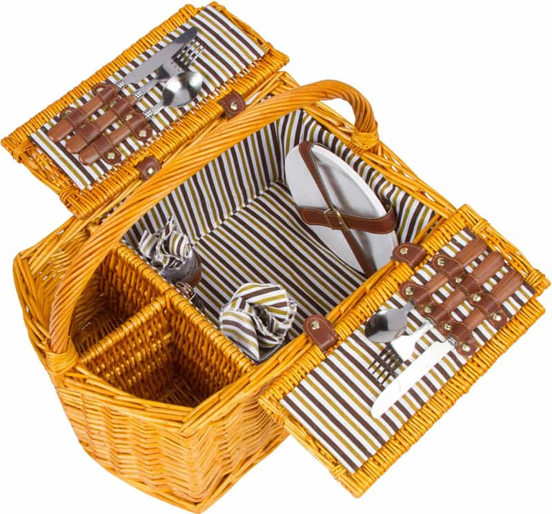 Trademark Innovations Striped Lined Wicker Picnic (1)