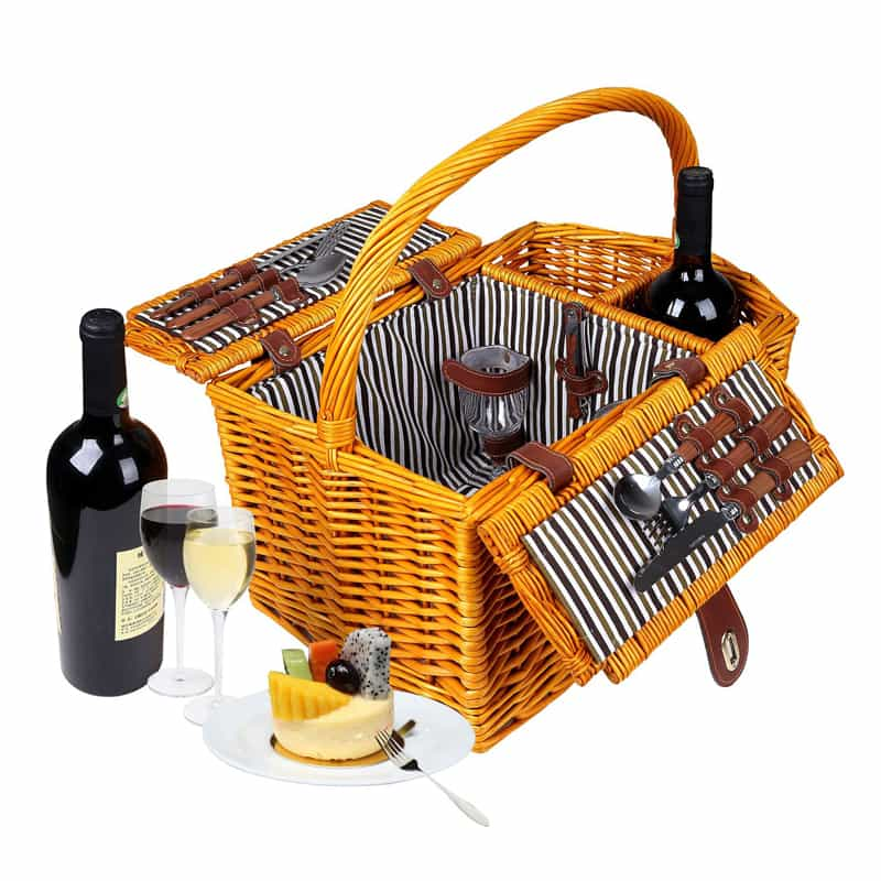 Trademark Innovations Striped Lined Wicker Picnic (2)