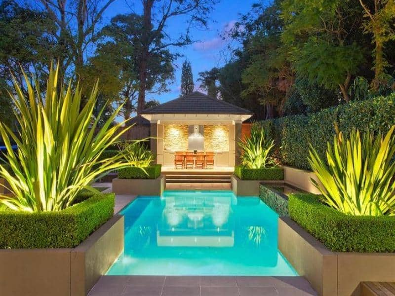 30 beautiful swimming pool lighting ideas for Best garden pools