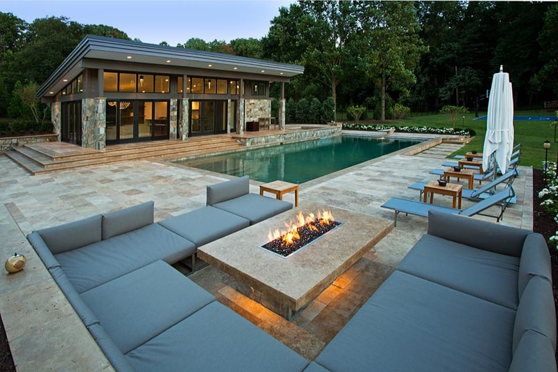 33 pool houses with contemporary patio for Huzz house