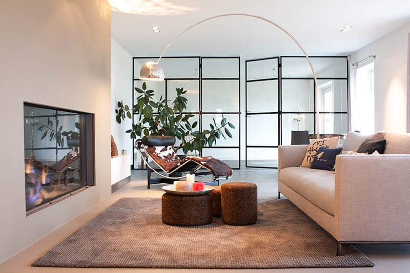 living room with arco floor lamp