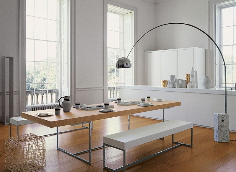 kitchen with arco floor lamp