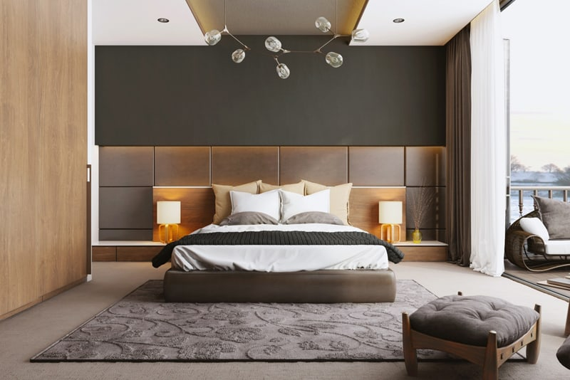 The false ceiling offers space for lighting spots  30 Examples Of False Ceiling Design Bedrooms
