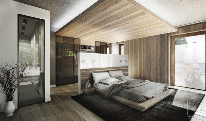 Lovely In This Bedroom, The False Ceiling Complements The Overall Design. Made Of  Wood, The Panel Above Marks The Sleeping Area, While Also Offering Space  For ...
