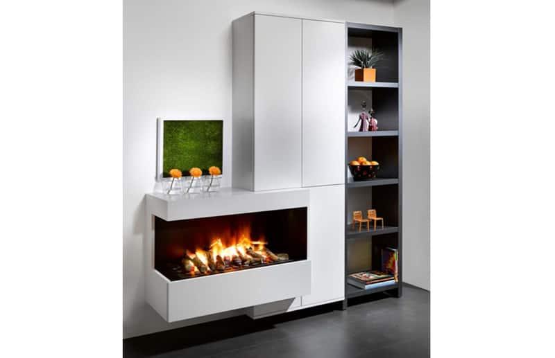 Long electric fireplace