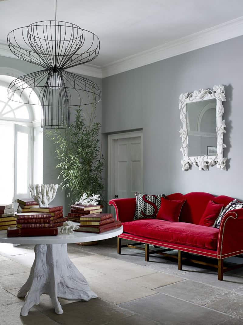 Modern Room Decor: Adorable Red Sofas Creating A Modern Impression Of Living Room