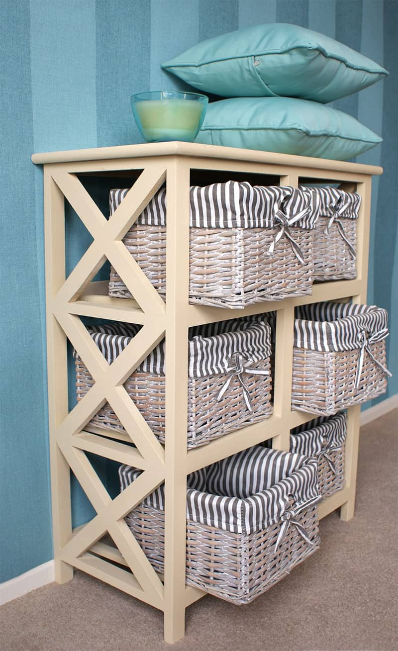 Wicker Baskets Used As Extra Storage In The Small Spaces