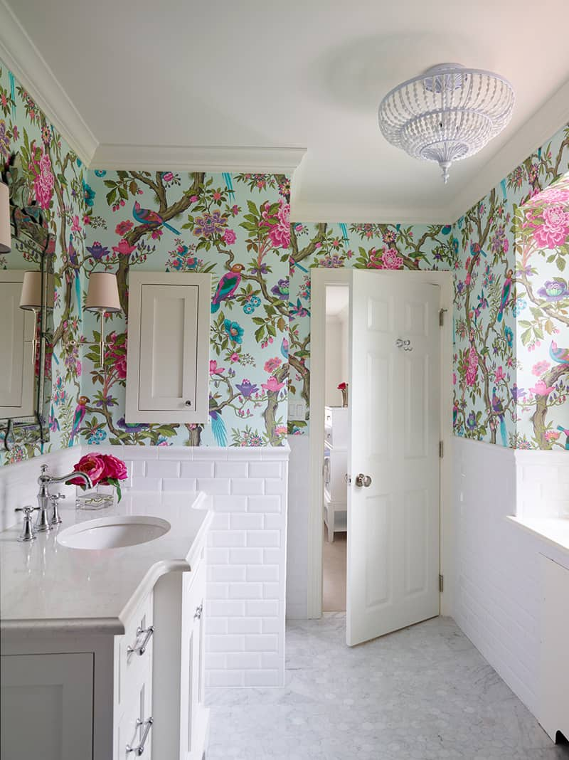 Pink Powder Room Tiles