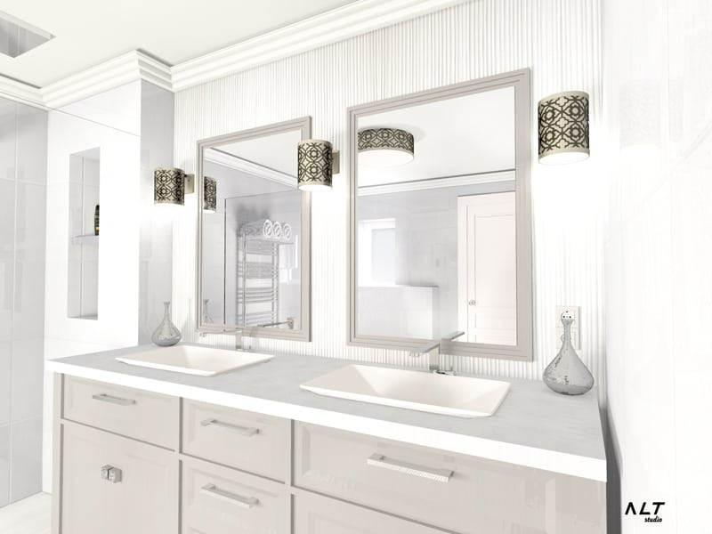 Add dynamism to the room with modern lighting spots and lamps