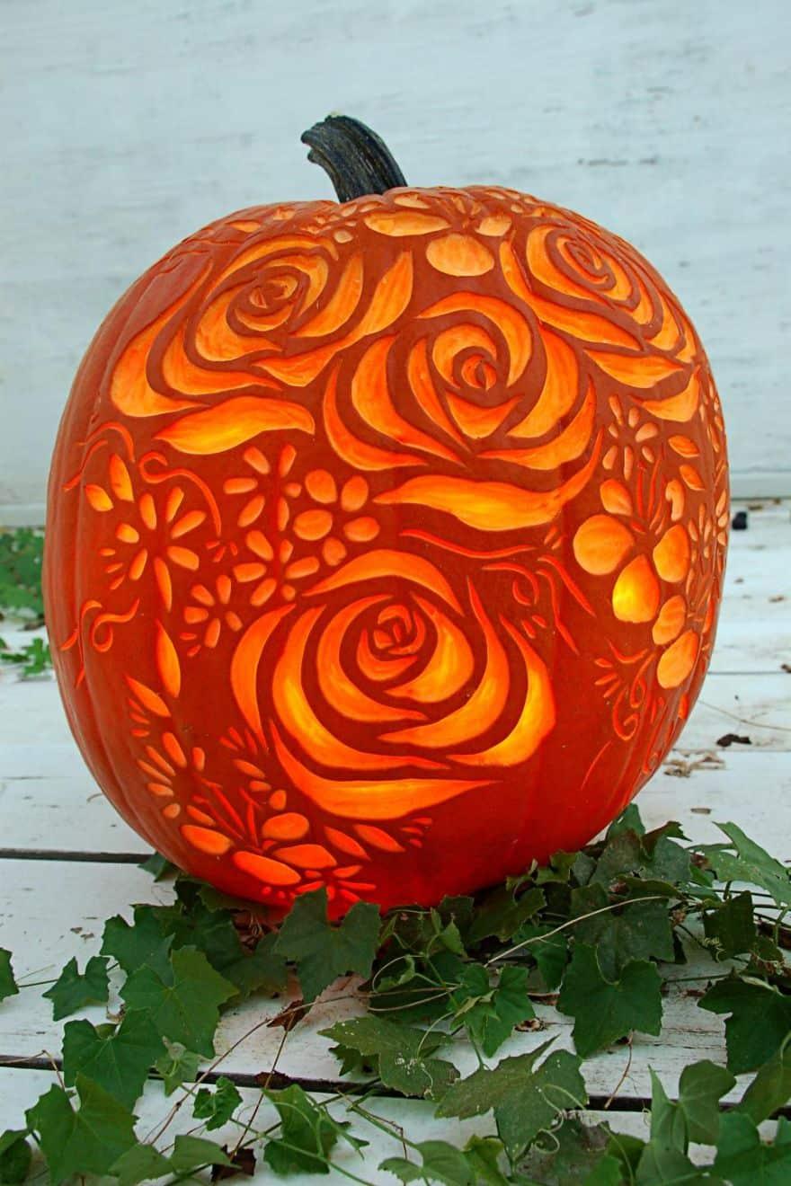 floral inspired Halloween pumpkin