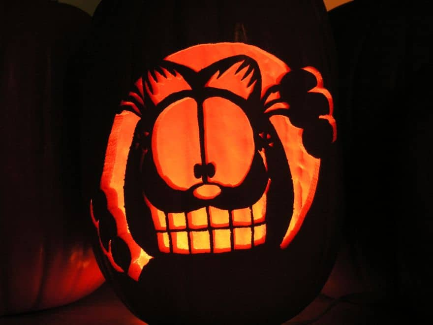 Garfield carved pumpkin