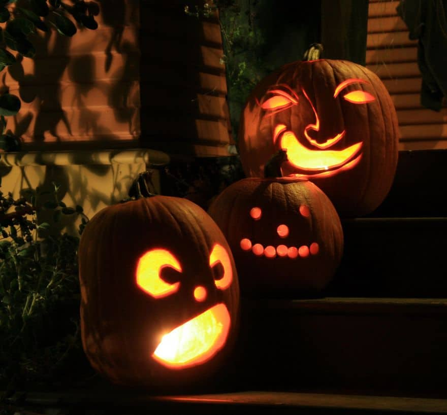 jack-o-lanterns on the porch