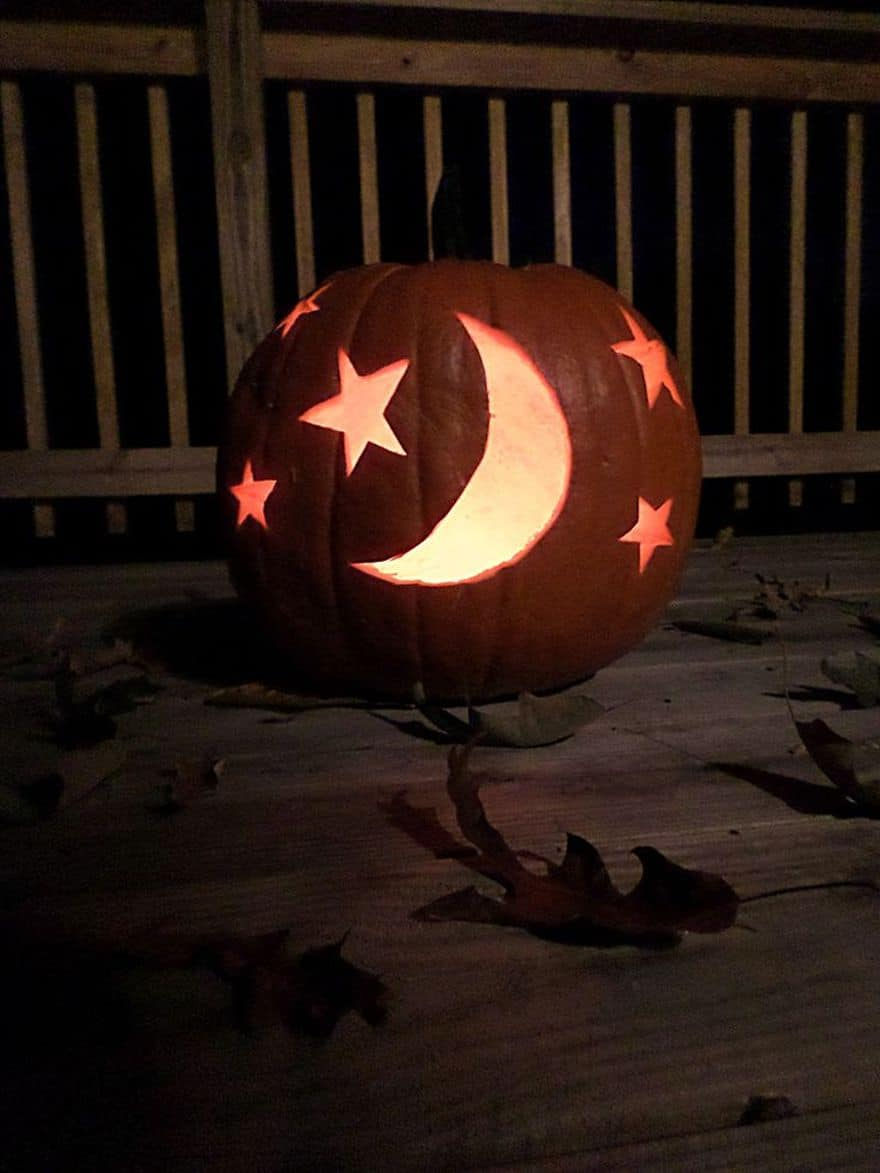 moon and star carved pumpkin
