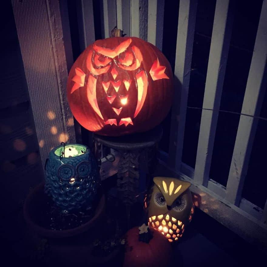 carved pumpkins ideas - owls