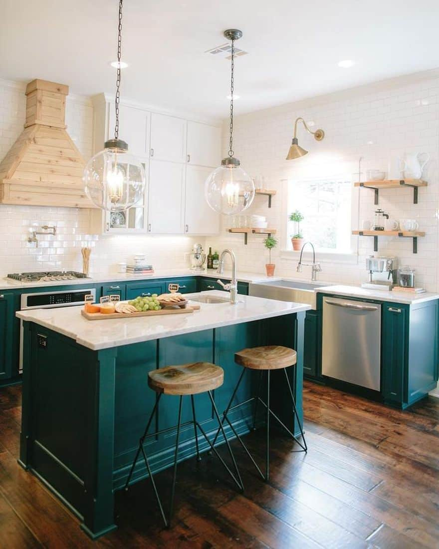 teal kitchen cabinetry