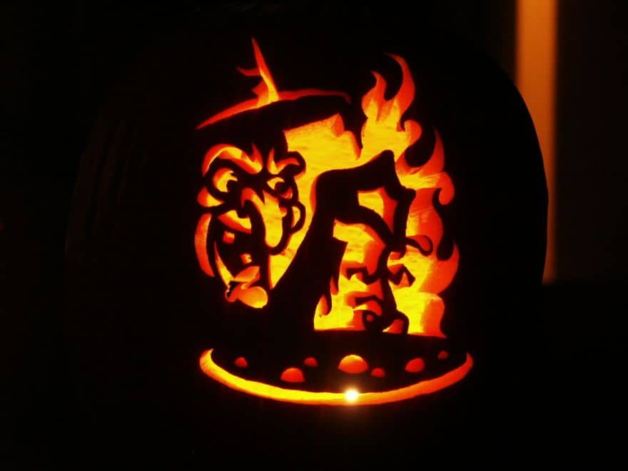 witch carved pumpkin