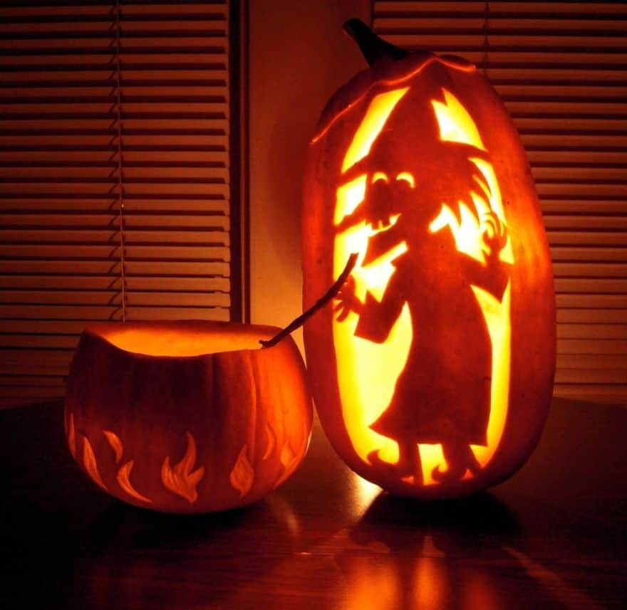 witch carved pumpkins