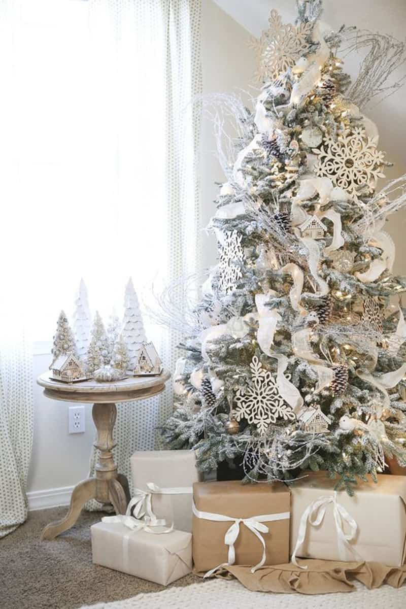 Finally, if elegance is your primary concern, deck up your tree in silver and pearls. This idea works best with Alaskan Ferns.