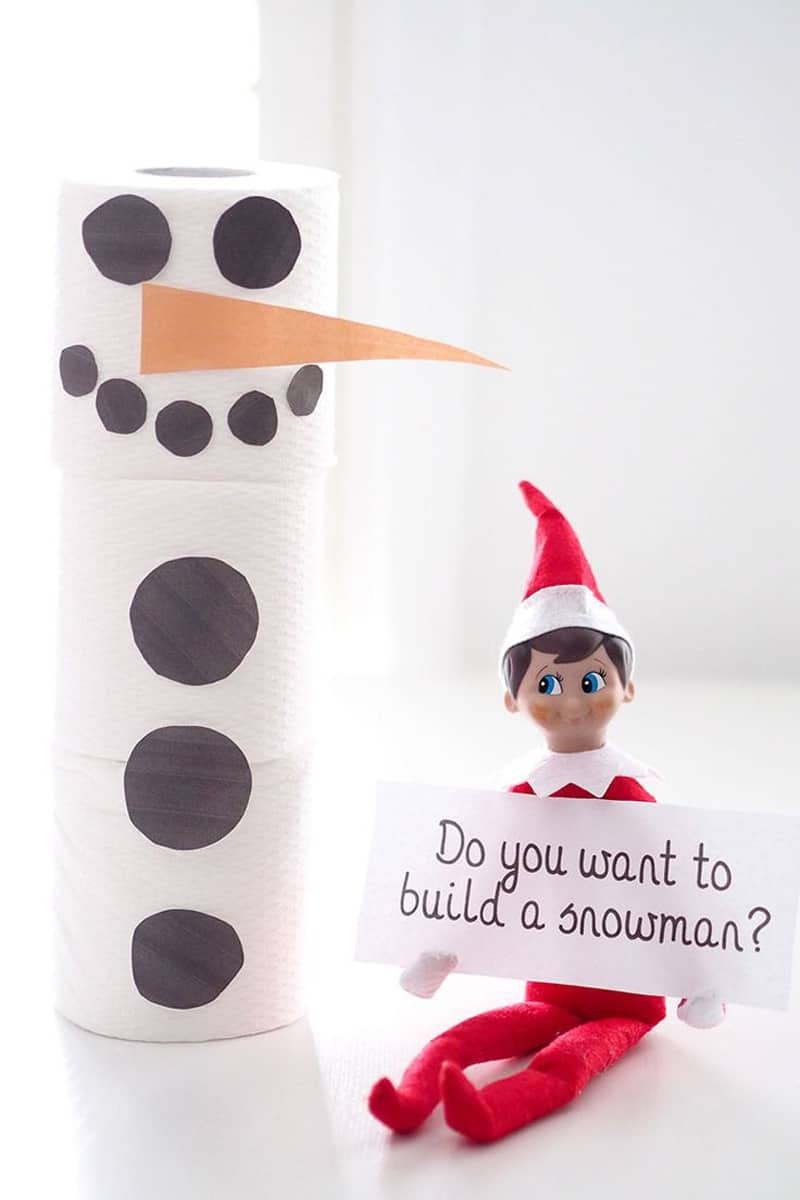 Elf asking your kids to build a snowman