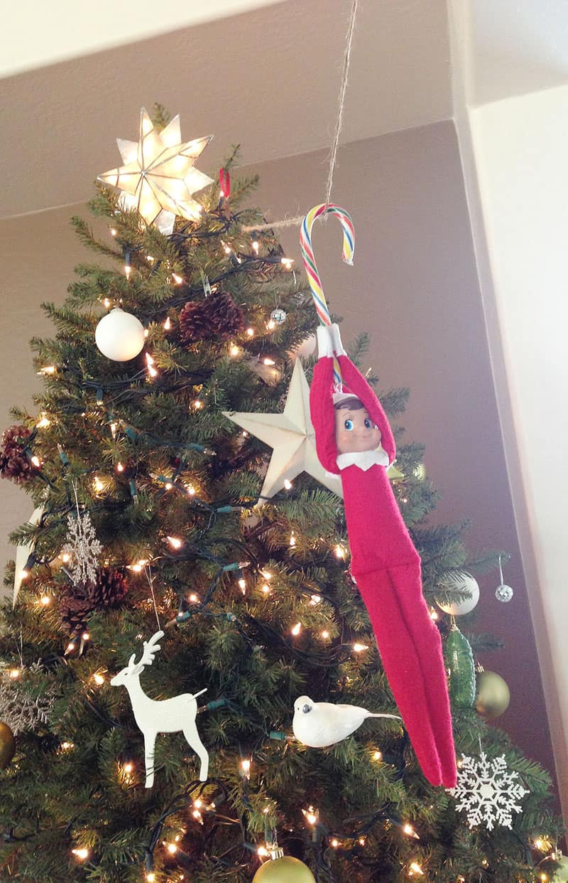 Elf zip lining from the Christmas tree