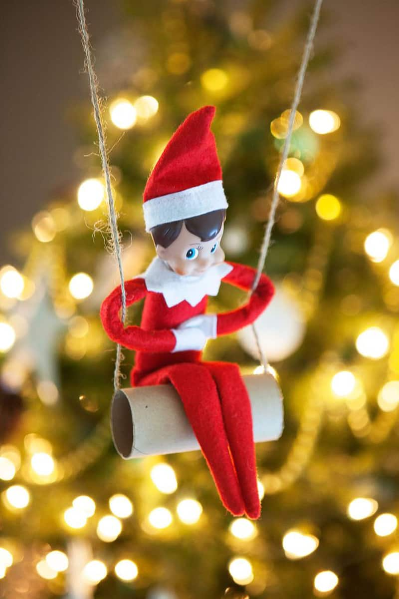 Elf swinging on a tissue paper