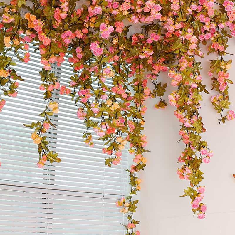 Artificial Rose Garland Silk Flower Vine For Valentine Home Wedding Garden  Decoration Buy It From Here.