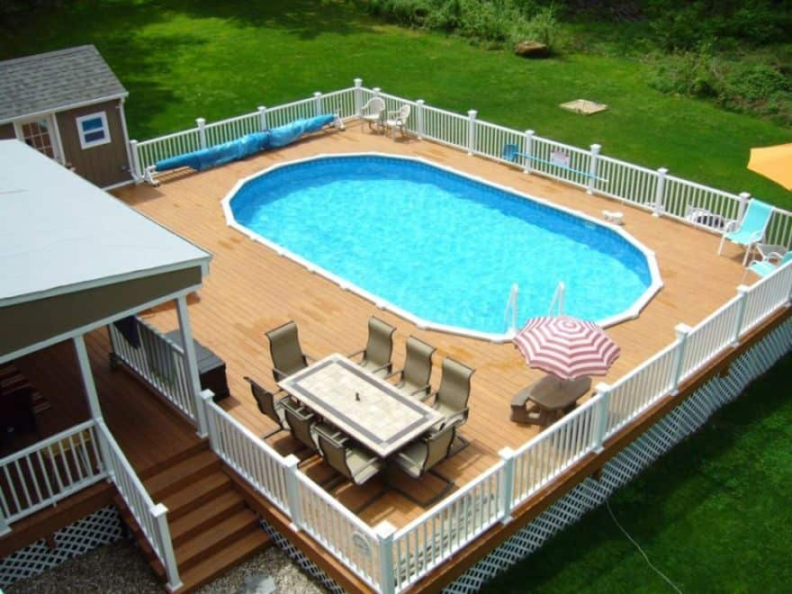 Above Ground Swimming Pool Design above ground swimming pool decks