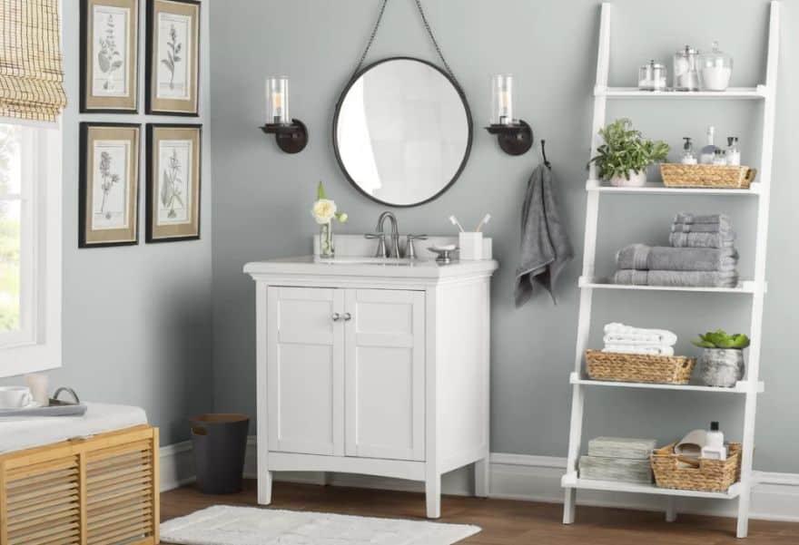 [source] Ladder Shelves [photo Source] Bathroom Storage