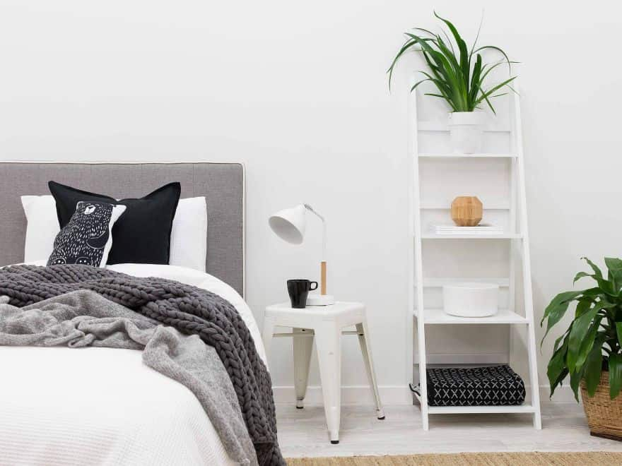 bedroom ladder shelves