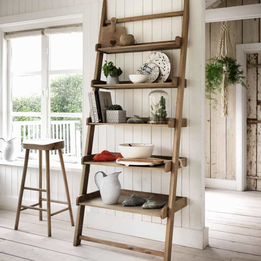 leaning ladder shelf ideas