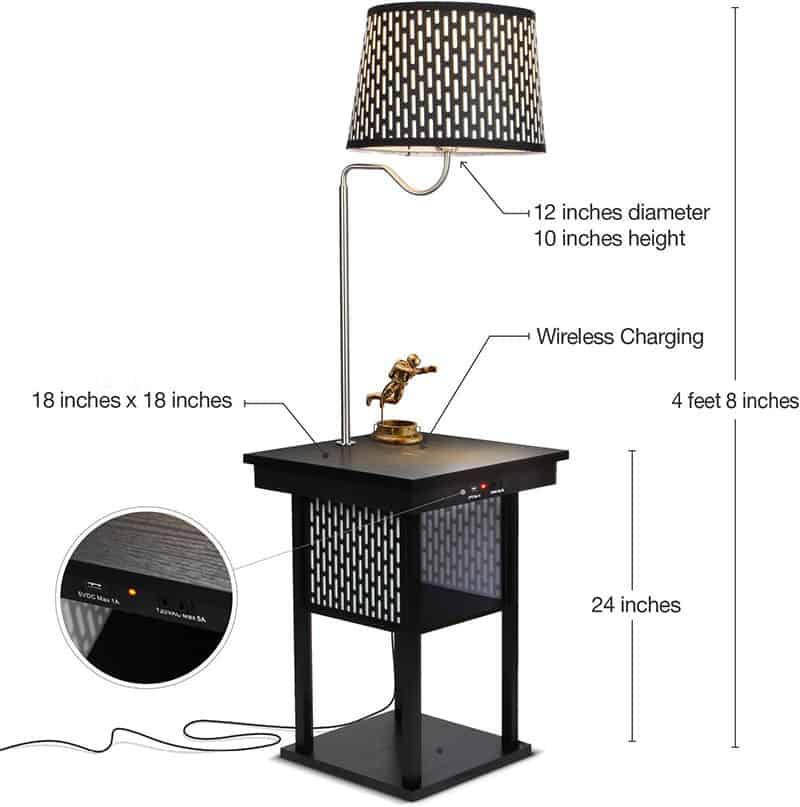 2 In 1 Floor Lamps With Shelves For, Wireless Floor Lamp